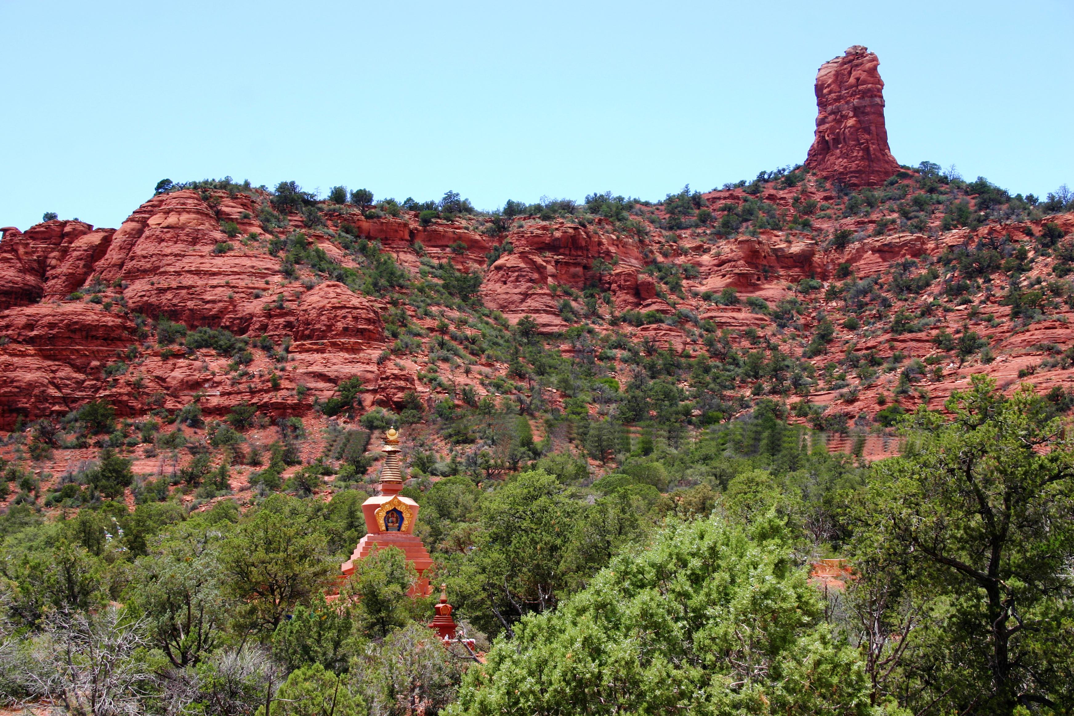 Amitabha Stupa with Red Rocks