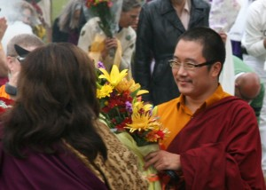Jetsunma greeting His Holiness Karma Kuchen